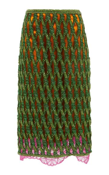 Versace Beaded Netted Pencil Skirt