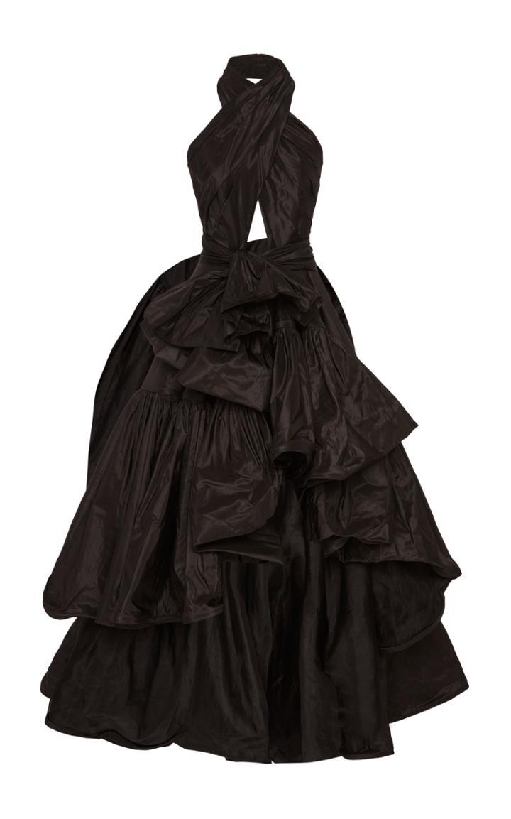 Oscar De La Renta Draped Silk Halter Gown