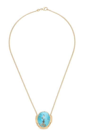 Haute Victoire 18k Gold And Turquoise Pendant Snake Necklace