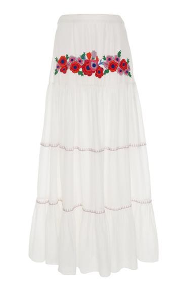 Carolina K Iris Embroidered Cotton Maxi Skirt