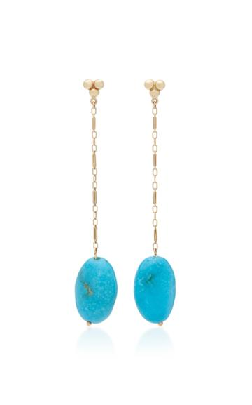 Haute Victoire Vintage 18k Yellow-gold And Turquoise Drop Earrings