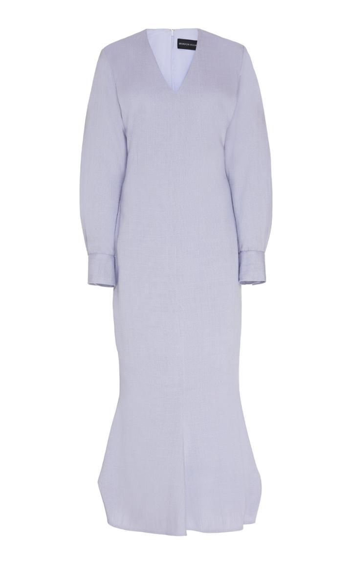 Brandon Maxwell Fluted Crepe Midi Dress
