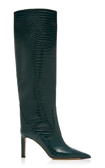 Jimmy Choo Mavis Croc-effect Leather Knee Boots
