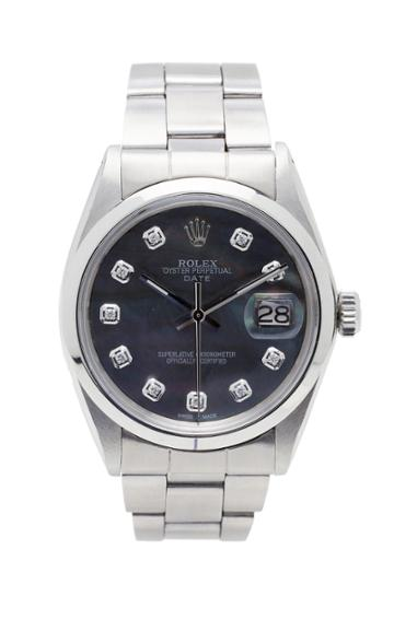 Vintage Watches Rolex Date Black Shell Pearlized Diamond Dial