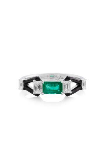 Nikos Koulis Oui Ring With Emerald Center Stone Emerald Cut Diamonds And Black Enamel