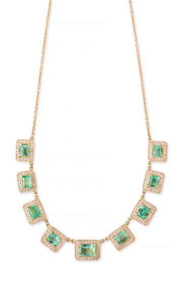 Moda Operandi Jacquie Aiche 14k Yellow Gold Baguette Emerald Necklace
