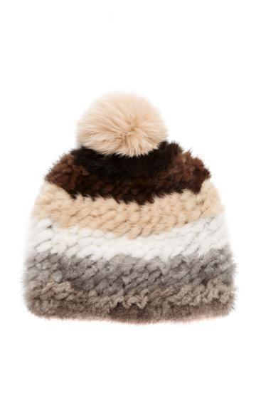 Pologeorgis Knitted Mink And Fox Pom-pom Hat