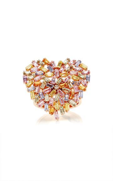 Moda Operandi Suzanne Kalan 18k Rose Gold Large Pastel Heart Ring Size: 4