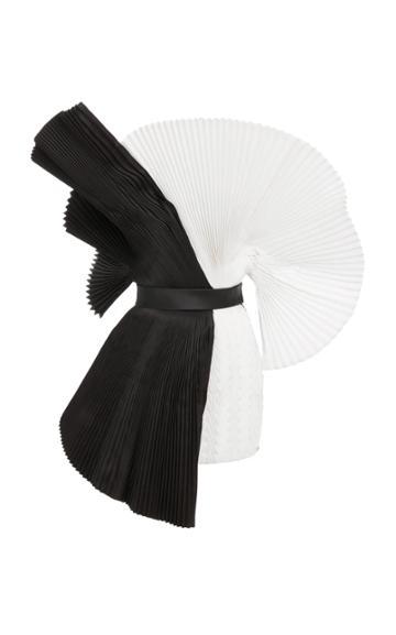 Balmain Contrast Pleated Silk Dress
