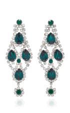 Jennifer Behr Di Chandelier Emerald Crystal Earrings