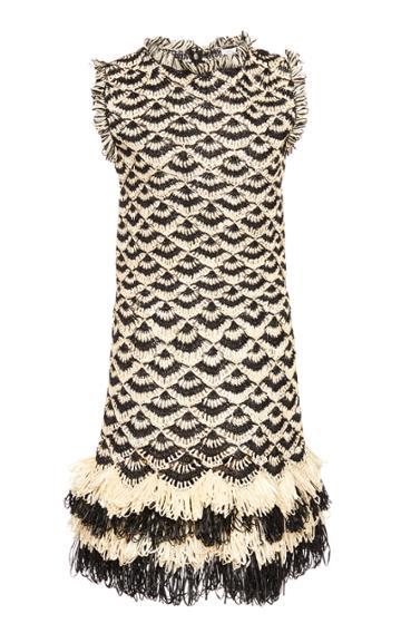Oscar De La Renta Fringed Pointelle-raffia Dress
