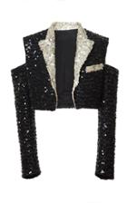 Balmain Cropped Paillettes Jacket
