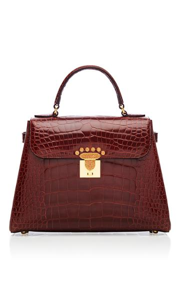 Asprey Private Collection 167 Handbag In Mahogany Polished Crocodile With 18k Yellow Gold And Cognac Diamonds