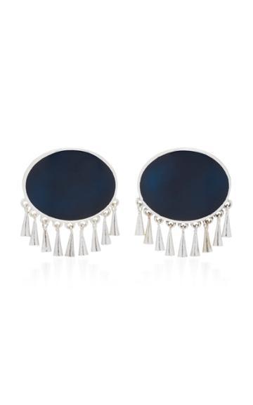 Silhouette M'o Exclusive Silver-plated Brass Enamel Earrings
