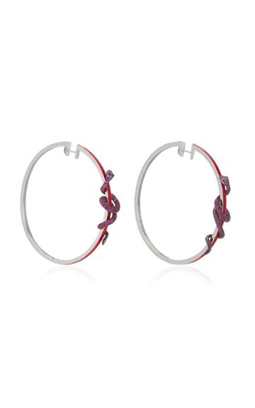 Wendy Yue 18k Gold Ruby And Diamond Hoop Earrings