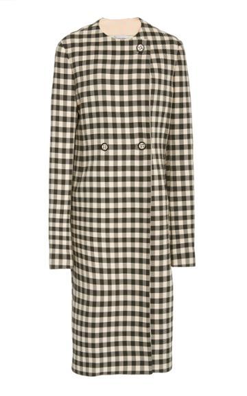Moda Operandi Marina Moscone Gingham Cotton-blend Coat
