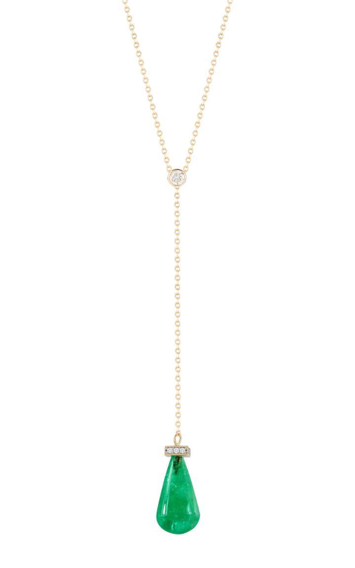 Mateo X Muzo 14k Gold Emerald And Diamond Necklace