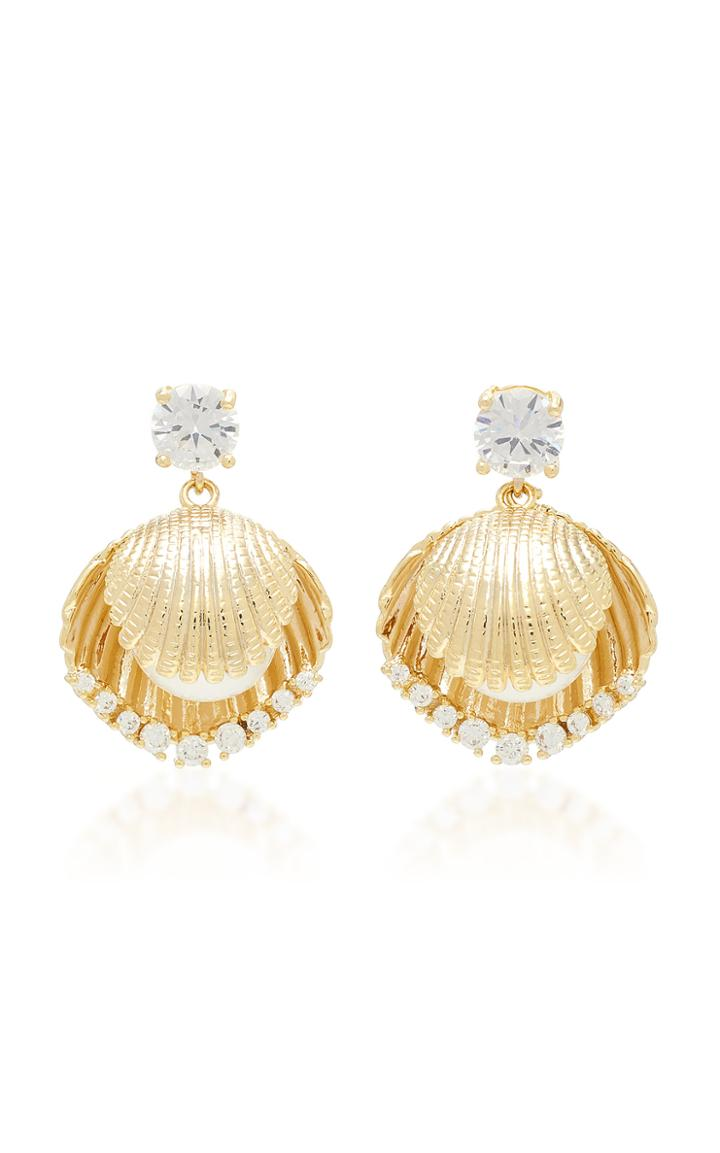 Fallon Gold-tone Brass, Crystal And Pearl Shell Earrings