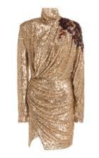 Moda Operandi Redemption Bead-embellished Draped Sequined Mini Dress