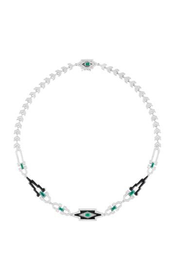 Nikos Koulis Yesterday Necklace With Pav White Diamonds Emerald Baguettes And Black Enamel