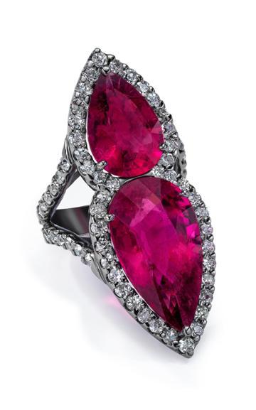 Mindi Mond Exclusive 18k Rhodium, Rubellite And Diamond Ring Size: 7