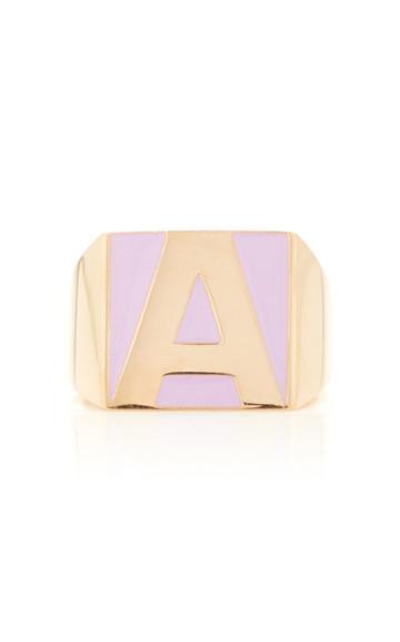 Moda Operandi Alison Lou Superlou Lavender Enamel Letter Ring