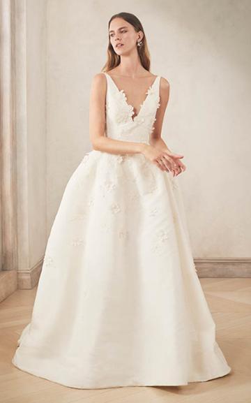 Moda Operandi Oscar De La Renta V-neck Silk Faille Embroidered Ball Gown Size: 0