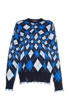 Msgm Oversize Argyle Sweater