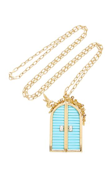 Brent Neale M'o Exclusive Large Door Pendant With Floral Archway On 32 Chain