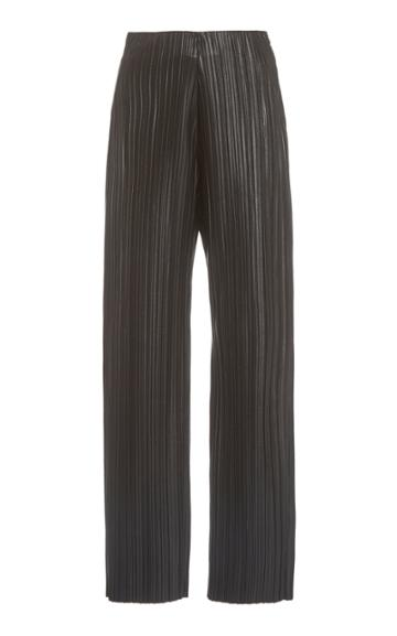 Nanushka Char Pliss Vegan Leather Wide-leg Pants