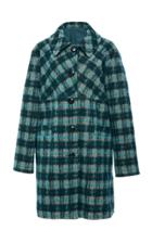 Anna Sui Brushed Tartan Coat