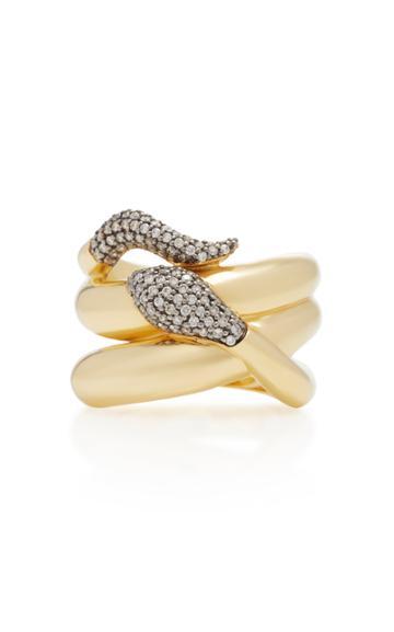 Sorellina 18k Gold Diamond Snake Ring