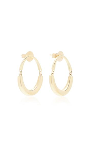 Rush Jewelry Design 18k Yellow Gold Signature Swinging Oval Hoop Earri
