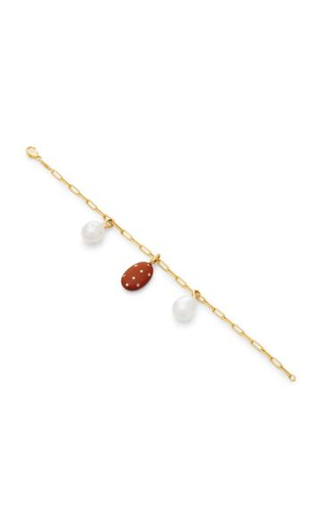 Cvc Stones Vino And Pearl 18k Gold Charm Bracelet