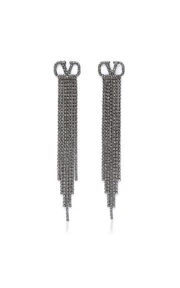 Valentino Valentino Garavani Silver-tone And Crystal Earrings