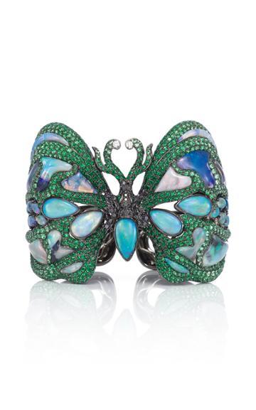 Wendy Yue 18k White Gold, Opal, And Multi Diamond Cuff