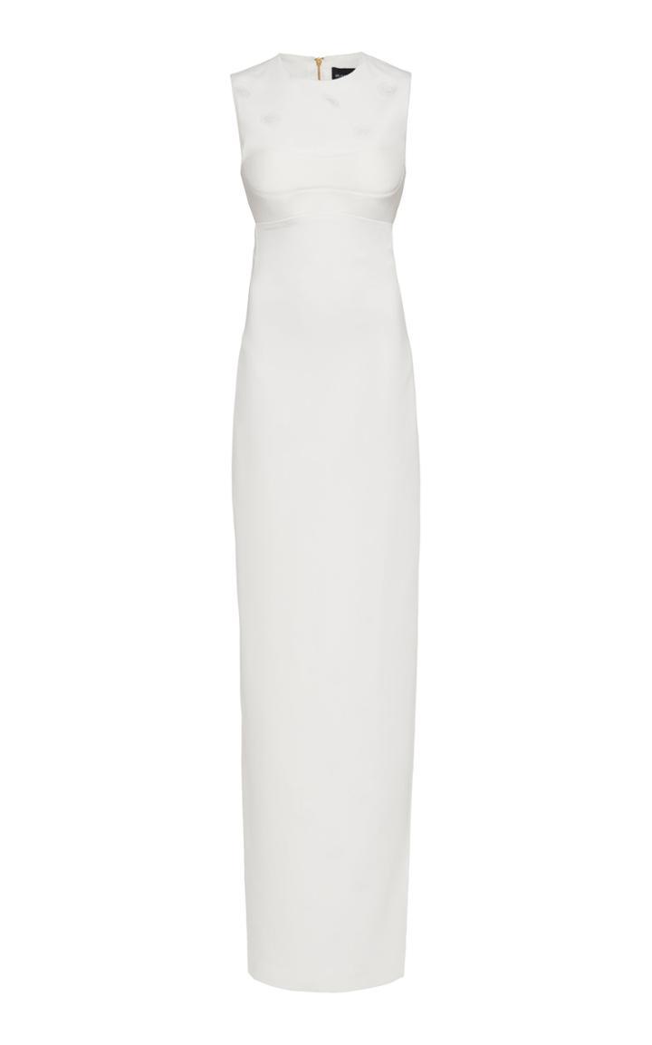 Brandon Maxwell Sleeveless Jacquard Crepe Sleeveless Gown