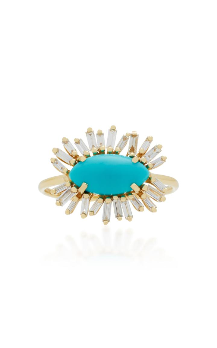 Suzanne Kalan 18k Gold Diamond And Turquoise Ring