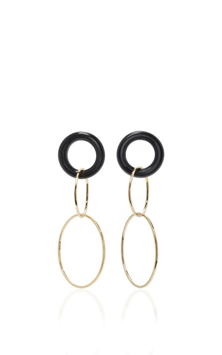 Mateo 14k Gold And Onyx Earrings