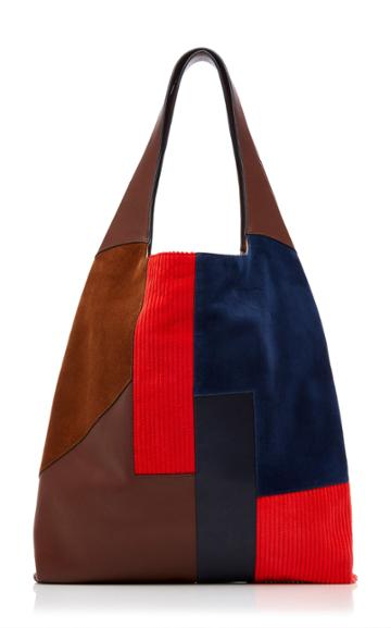 Hayward Patchwork-effect Suede Corduroy And Leather Tote