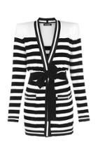 Balmain Belted Velvet Stripe Cardigan