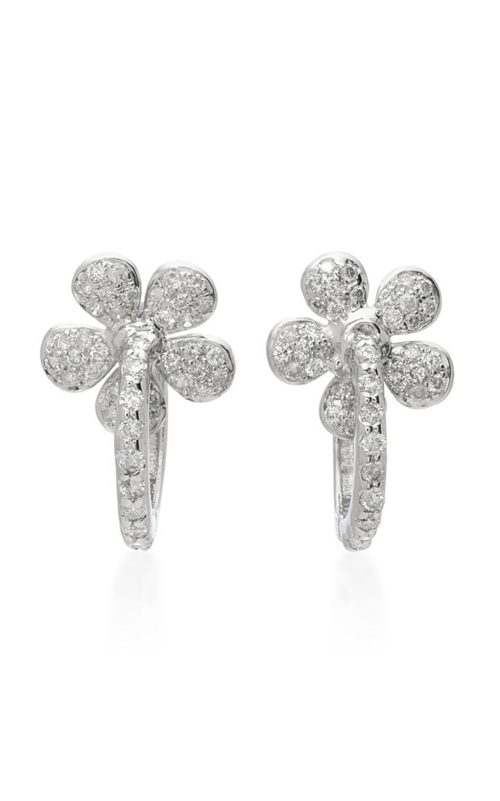 Colette Jewelry Small Flower Huggies 18k White Gold Diamond Earrings