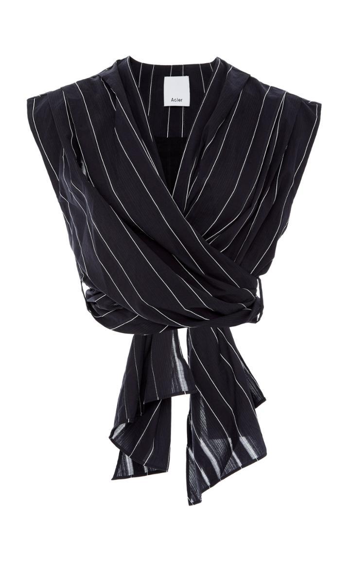 Acler Dernon Cropped Cotton Wrap Top