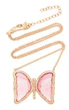 Jacquie Aiche Pave Pink Tourmaline Butterfly Necklace