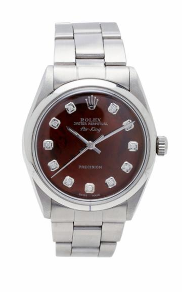 Vintage Watches Rolex Airking Brown Pearlized Diamond Dial