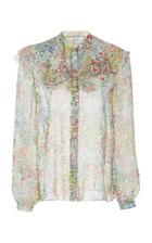 Giambattista Valli Floral-print Ruffled Chiffon Blouse