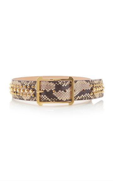 Elie Saab Snakeskin Studded Waist Belt