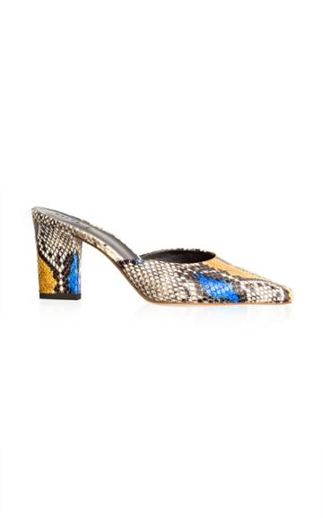 Aeyde Signe Heeled Snake-effect Leather Mules