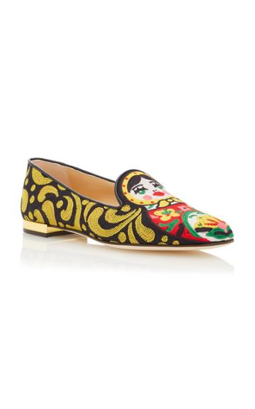 Charlotte Olympia M'o Exclusive Matrioska Canvas Mule