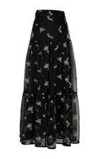 Rahul Mishra Bouquet Tiered Mesh Maxi Skirt